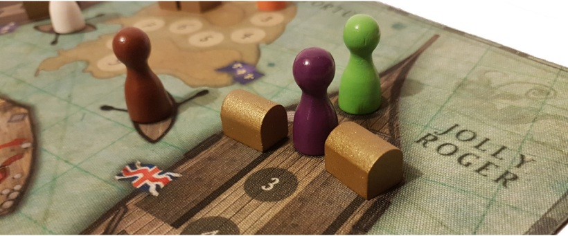 review of Board game Tortuga 1667 in play close up