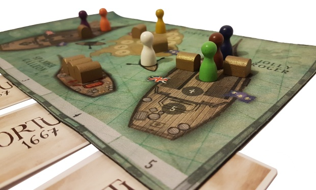 review of Board game Tortuga 1667 in play mid close up