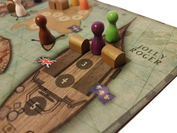 review of Board game Tortuga 1667 close up in play
