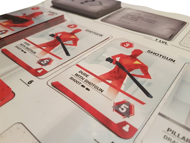 SUPERHOT Card Game review - in play close up, dudes with shotguns