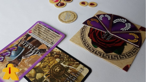 Gladiatores Board Game Review - Board Meetings - In Play Close Up Retiarius